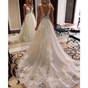 Real Images A Line Beach Bridal Gowns Garden Full Lace Appliqued Wedding Dresses In Stock Dubai Vestidos De Novia Custom Made