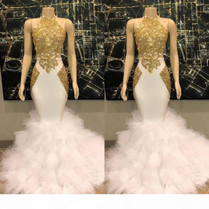 Gorgeous Halter Gold and White Prom Dresses Ruffles Tulle Real Pictures Mermaid Formal Cocktail Party Dresses Evening Gowns