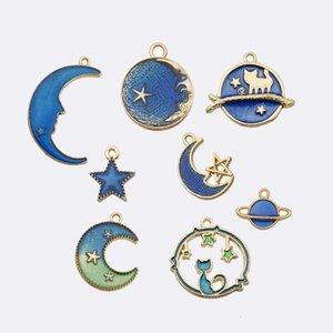 24 Acessórios DIY Pulseira de Liga de Óleo Pingente Moon Star Globe Brincos