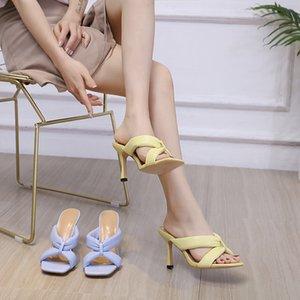 35-42 Sarı Rahat Sandalet Ayakkabı Kadınlar Için 2021 10 cm Yüksek Topuklu Terlik Mavi PU Kare Toe Basit Oymak Artı Boyutu