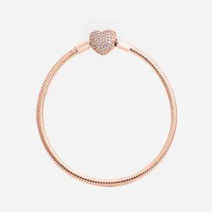 Moda de luxo 18k Rose Gold CZ Diamond Heart Braceletes Caixa Original para Pandora 925 Prata Liso Snake Chain Bracelet D8bn