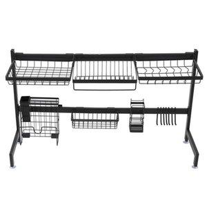 Dish Rack Over Sink,Stainless Steel Shelf Shelf Storage Shelf Organizer with Utensil Rack Drainer Kitchen black