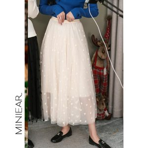 Skirts 2021 Skirt Women Spring Fashion Casual Loose Elastic Waist Lace Hollow Out All-match
