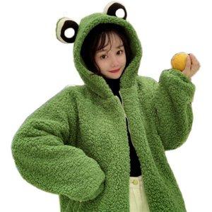 Women Winter Cute Eyes Hoodie Jacket Long Sleeve Faux Wool Oversized Coat Harajuku Fuzzy Plush Warm Zip Up Outwear Women's Jackets