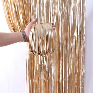 Party Decoration Backdrop Curtain Metallic Foil Fringe Shimmer Birthday Wedding Wall Po Zone