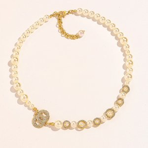 Women Diamond Letter Beaded Necklace Pearl Chain Necklaces Gift for Love Girlfriend Fashion Jewelry Accessories
