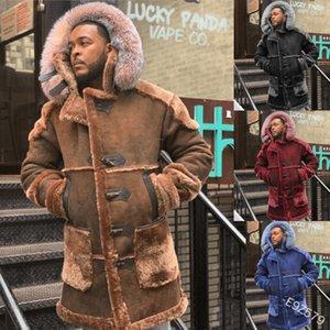 Hombres Abrigos de lana Reino de invierno Chaquetas cálidas Casual Capucha Abrigo Patchwork Parka Camisa larga Outwear Outwear