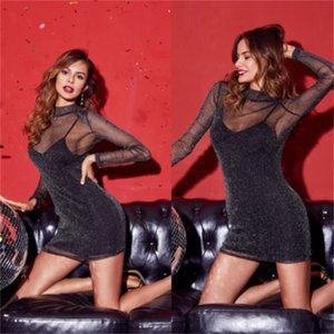 Sexy Women Bandage Bodycon dress see through sequined skinny Evening Party club wear dress Summer Mini pencil Dress