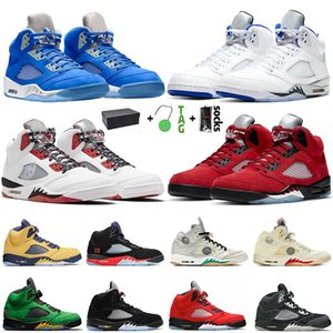 2021 With Box Bluebird Jumpman Mens 5 5s Basketball Shoes Quai 54 Sail Anthracite Raging Bull SE Oregon Alternate Bel Sneakers Trainers Size 40-47