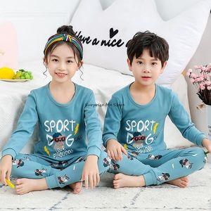 Pajamas Big Boys Girls Autumn Winter Long Sleeve Children's Clothing Sleepwear Cotton Pyjamas Sets For Kids 2 4 6 8 10 12 14Yrs