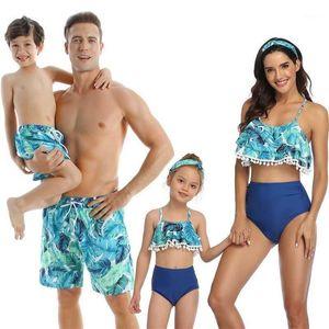 2020 Family Matching Outfit Swimwear Women Swimsuit Mother Daughter Kid Son Girl Bathing Swim Suit Mayo Bikini Summer BeachDress1
