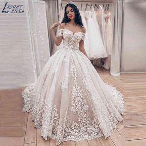 Wedding Luxe Baldress Princess Dress 2021 Noiva Off the Shoulder Robe Mariee Edge Dresses De Festa Bride Jurk