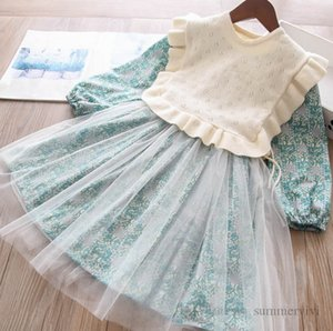 Girls princess clothing sets kids floral printed splicing lace tulle dress+hollow knitted sweater falbala fly sleeve shawl 2pcs children outfits Q2041
