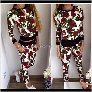 Tracksuits Womens Clothing Apparel Drop Delivery 2021 Sweatshirt Floral Printed Two Piece Set Tracksuit Hoodies Jogging Suit For Women S-Xl X