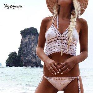 Msormosia Handmade Crochet Women Bikini Top Boho Beach Bralette Solid Halter Knitted Swimsuit Brazilian Bikinis Beachwear Two-Piece Suits