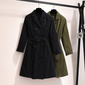 coat Plus size 6xl 5xl 4xl 3xl 2xl Female fall long ladies work wearing thin trench coats for mujer