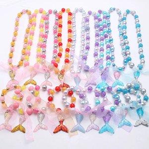 لطيف طفل الفتيات مكتنزة الخرز قلادة أساور مجوهرات مجموعة الأزياء حورية البحر الذيل pendanst للأطفال أطفال
