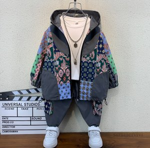 Fashion Boys patchwork color clothing sets kids hooded long sleeve casual jacket+double pocket trouser autumn children outfits Q2261