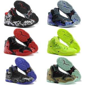 Navy Blue Men / Women Kids Shoes Lebron Soldier XI 11 أسود / أحمر / أبيض رياضي رياضي