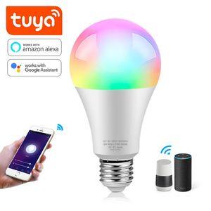 Bulbs Wifi Tuya RGBCW Smart LED Bulb E27 B22 2.4GHz 10W 12W 15W 18W Dimmable Light Work With Google Assistant Alexa