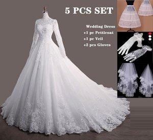 Bride Elegant Long Princess Mouwen Plus Size Lace Up Celebrity Baljurk Muslim Wedding Dress De Noiva
