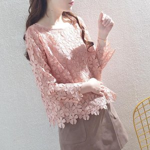 Women's Polos Spring Autumn Style Lace Blouses Shirt Hollow Out Solid Color O-Neck Long Sleeve Elegant Tops DF3930