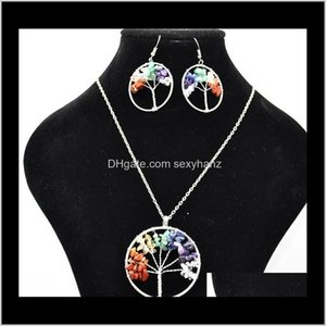 Sets Drop Delivery 2021 Women Rainbow 7 Chakra Amethyst Of Life Quartz Chips Earrings & Jewelry Set Multicolor Wisdom Tree Natural Stone Neck
