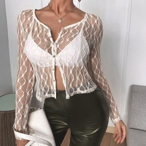 Black White Lace Mesh Sheer See Through T-shirt Long Sleeve Button Crop Top Sexy Women Streetwear Summer Y2K Aesthetic Top Tee
