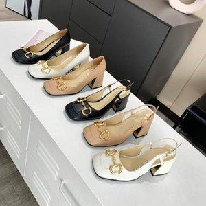 Fashion leather women's sandals summer luxury designer high heels