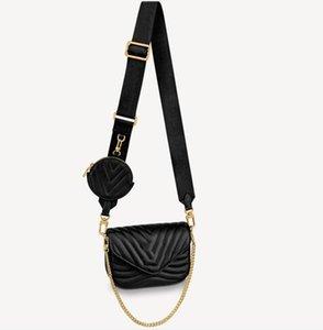 Donna Multi Pochette Accessoires Borse Onda Onda Round Coin Borsa in pelle Designer Designer Lady Zip Straw Brain Borsa a tracolla