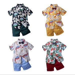 6 colors 2 pcs set Summer children's suit boys print short-sleeved shirt + shorts Kids Clothing