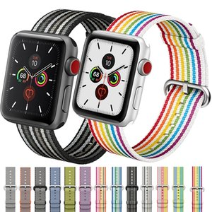 Fashion Watchband Nylon Strap For Apple Watch 44mm 40mm 42mm 38mm Woven Bracelet Fit iwatch Series 6 SE 5 4 3 2 1