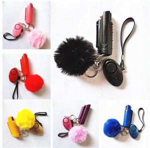 1 Set=3 pcs Defense Keychains Set Lncluding 20ml Spray Alarm Pompom Keychain Hand Sanitizer Broken Windows Key For Woman Self-defense