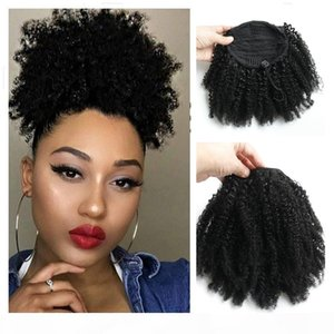 120g Afro Kinky Curly Human Hair Ponytail For Black Women Brazilian Virgin Hair Short High Drawstring Pony tail Hair Extensions 10-16 inch