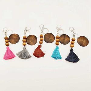5 estilos de madera con cuentas de madera Anillo de llaves con borla de algodón colgante llaveros bricolaje impresión de madera llavero llavero