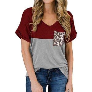 Womens Casual Kurzarm Lose Fit T-Shirt Sexy V-Ausschnitt Farbblock Pullover Tunika Tops Leopard Patchwork Tasche Sommer Streetw Frauen