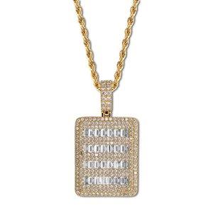 الهيب هوب قلادة للأزواج الرجال النساء الفاخرة بلينغ زركون 18 كيلو الذهب مطلي ساحة النحاس قلادة مجوهرات هدية هدية الزفاف المشاركة