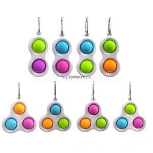 Simples Dimple Fidget Brinquedo Kechins Chaveiro Ring 2 Bolas Três Bolas Stress Relief Bag Toy Bag Pingentes Jogo de Dedo Brinquedos