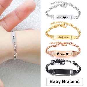 Buried Baby Name Bar Gold Sier Color Rvs Pulseiras for Young Girls Kids Women Family Bracelet