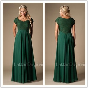 Hunter Green Lace Chiffon Modest country Bridesmaid Dresses Long With Cap Sleeves Wedding Party Dresses pregnant Maids of Honor Dresses