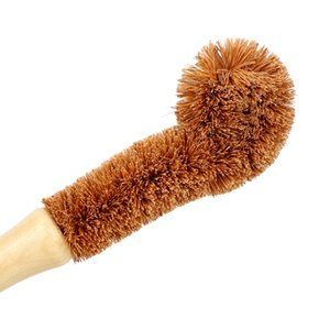 Wooden Cup Brush Kitchen Cleaning Tool Long Handle Coconut fiber Brown Natural Coir non-stick skillet dish washing pot brush GGA4727