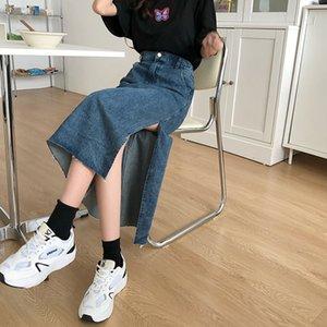 blue denim Skirt Women 2021 Korean style vintage Long Jeans Skirt side split High Waist a line Skirts Long For Womens