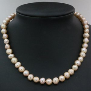 White Orange 8-9mm Natural Freshwater Cultured Pearl Beads Necklace For Women Choker Chain Charms Jewelry Making 18inch B3231 Chains