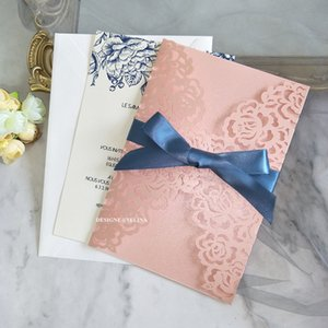 Pink Pearl Rose Wedding Invitation With Ribbon And Envelope DIY Shimmer Laser Cut Greeting Cards For Bridal Shower Quinceanera Party