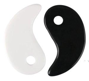 Blanco Negro Gua Sha Masaje Real Natural Jade Stone Tai Ji Forma para raspar Facial y Cuerpo SpA Spa Levantamiento Circulación de sangre OWEE5767