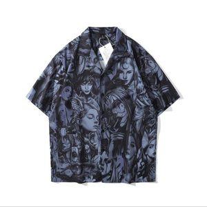Kavisli Hawaii Plaj Gömlek Erkekler Moda Koyu Rüzgar Portre Baskı Gömlek Streetwear Erkekler Hip Hop Tropikal Kısa Kollu Gevşek Camicie W74