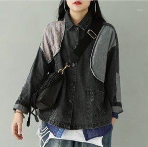 Harajuku Jean Spliced Women Blouses Personality Irregular Women Tops Long Sleeve Trend Dark Style Denim Shirt Female LT901S301