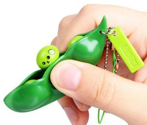 Infinite Squeeze Bean Toy Peanut Keychains Pea Soybean Keyring Edamame Fidget Toys pendant Anti-anxiety Stress Relief EDC Decompression