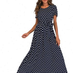 Womens Dresses Bandage Polka Dot Dress Summer Fashion Women O Neck Short Sleeve Beach Long Maxi