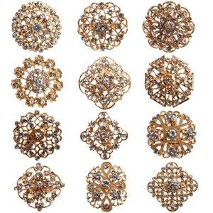 24 stücke klare kristall strass broschen frauen bridal gold brosche pins für diy hochzeit blumenstrauß kits